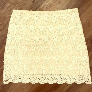 Zara White Lace Overlay Skirt